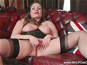 congenital big titties dark haired Sophia Delane jerks in nylons