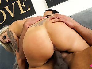 huge-titted light-haired Nina Elle taking a massive ebony pecker