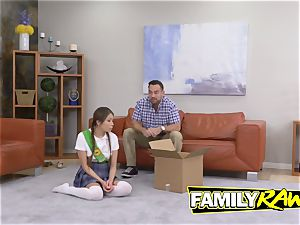 pigtailed sweetheart poking her step-father before college