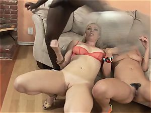 Charley haunt and Adrianna Nicole engulfs this hefty trouser snake