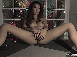 huge-titted asian babe taunting the hell out of his knob