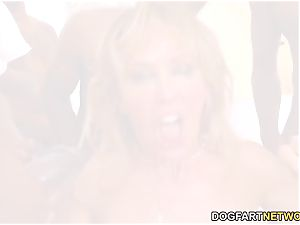 Cherie DeVille Gives blowjob To A group Of dark-hued fellow