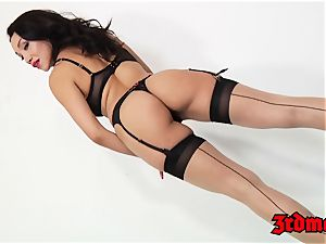 tights dressed latina bootie screwed intensively by immense lollipop