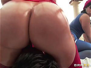 rectal orgy with 3 super-naughty meaty backside beotches Krissy Lynn, Nikki Delano and Rose Monroe
