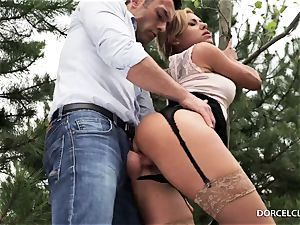 doll college girls see as their tutor gets booty-fucked in the forest