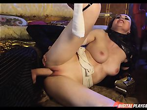 Tina kay has enormous stream on her mind-blowing super-cute face from frankenstein