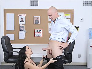 puny bouncer Megan Rain examines client's pants for concealed weapon