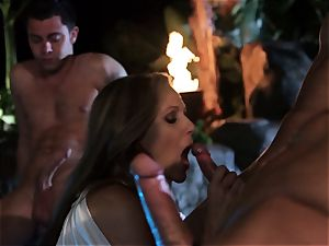 Julia Ann bj's a group of sausages in a pool
