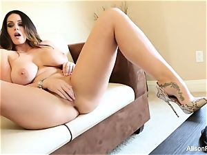 large boobed sweetheart Alison Tyler plays with her cooch