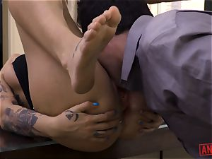 Tana Leas butthole takes James deens man meat for a rail