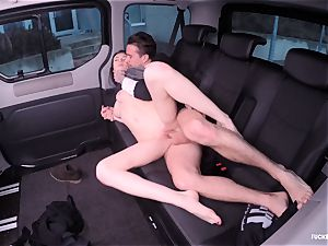 humped IN TRAFFIC - Russian stunner penetrates stiff in the car