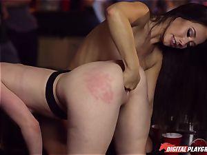 Red-headed slut Ella Hughes and fatal dark haired Eva Lovia have romp in a nightclub