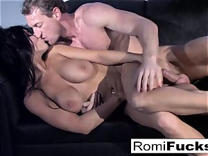 cool taunt followed by rock hard hookup with Romi Rain