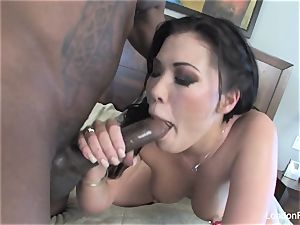 London Keyes takes some dark-hued jizz-shotgun on her butt