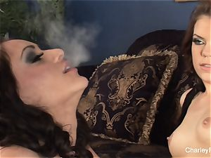 Smoking lesbo joy with Charley and babe