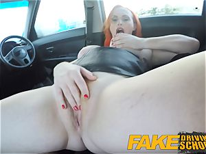 fake Driving college tattooed sandy-haired covets a ample lollipop