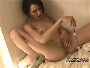 thin French damsel with tiny globes shoots a load using ben