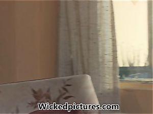 Nikki Delano is spied on as she rails a immense trouser snake