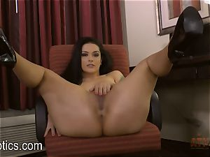 Katrina Jade arches over and gives you a flash
