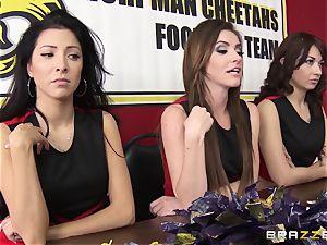 Mean cheerleaders gang penetrate August Ames